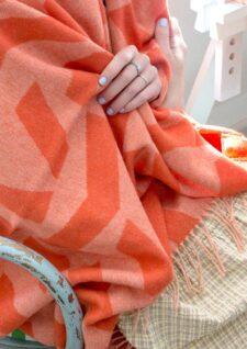 plaid oranje wol alpaca silkeborg uldspinderi