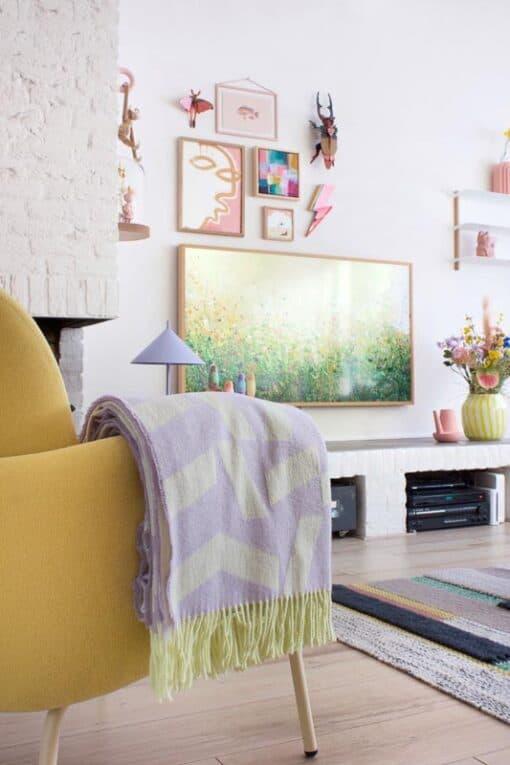 plaid wol lila geel