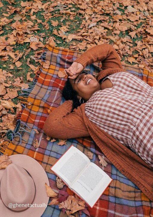 picknick picknickkleed wol ruiten oranje blauw