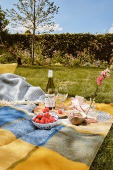 picknickkleed blauw geel ruiten wol