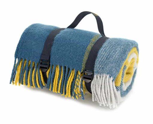 picknickkleed blauw wol ruiten geel