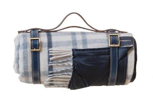 picknickkleed blauw grijs ruiten wol