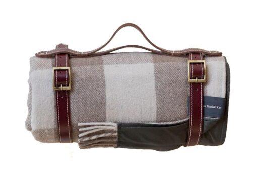picknickkleed bruin beige wol ruiten
