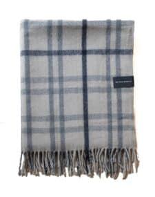 picknickkleed grijs blauw ruiten wol