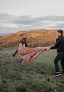 picknickkleed oranje blauw ruiten wol