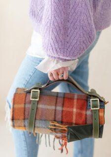 picknickkleed oranje ruiten blauw wol