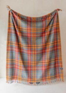picknickkleed wol ruiten blauw oranje tartan