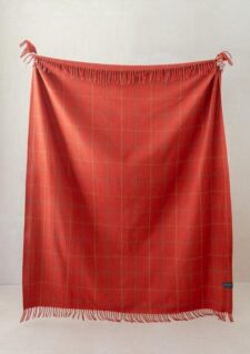 plaid oranje ruiten wol recycled