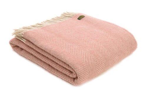 plaid roze visgraat wol zalmroze