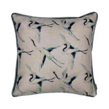 kussen blauw vogels raaf vierkant