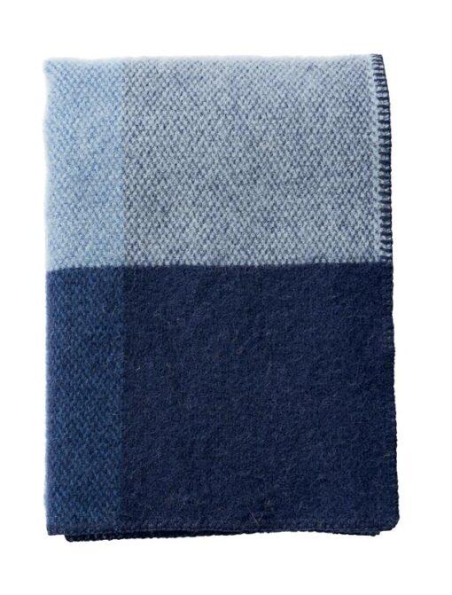 plaid blauw blokken lamswol klippan