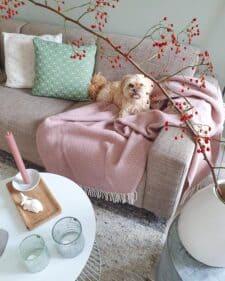 plaid roze klippan lamswol chevron