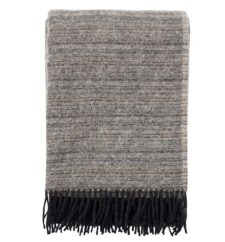 plaid zwart lamswol gemeleerd klippan