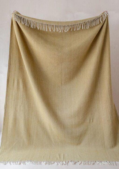 deken geel visgraat wol