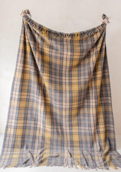 deken ruiten wol geel