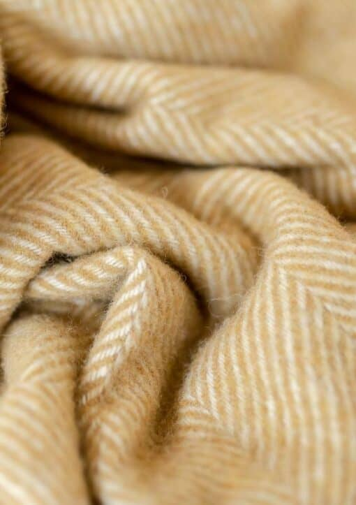 dekens geel wol visgraat