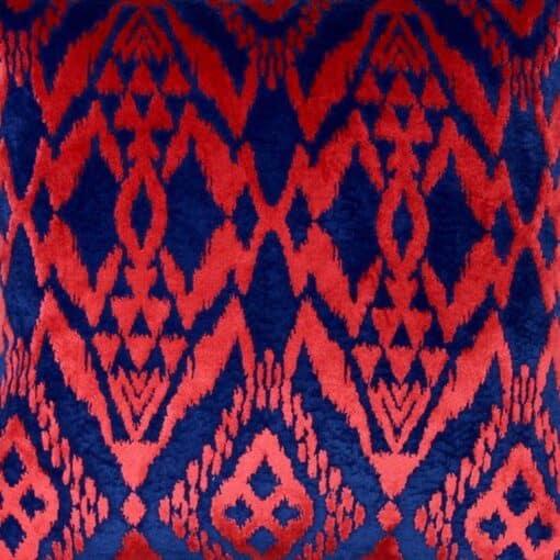 sierkussen blauw rood detail velours