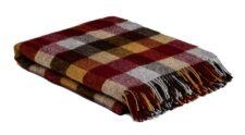 plaid blokken wol bordeaux okergeel bruin