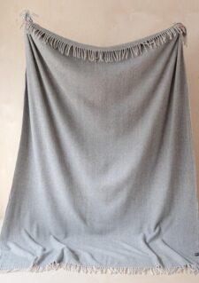 deken grijs visgraat wol
