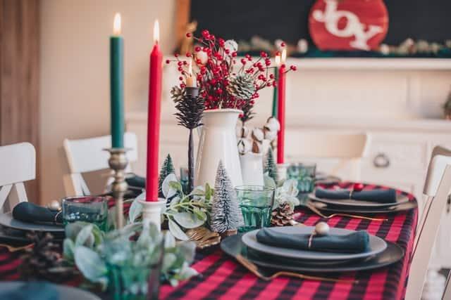 kersttafel rood groen