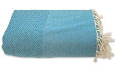 plaid turquoise grand foulard katoen