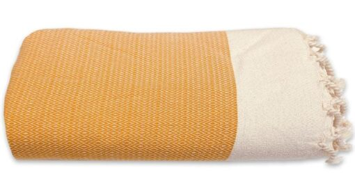 plaid okergeel grand foulard diamant katoen geel wit
