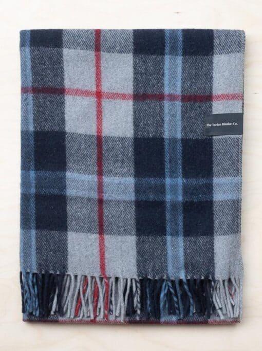 deken ruiten blauw wol tartan