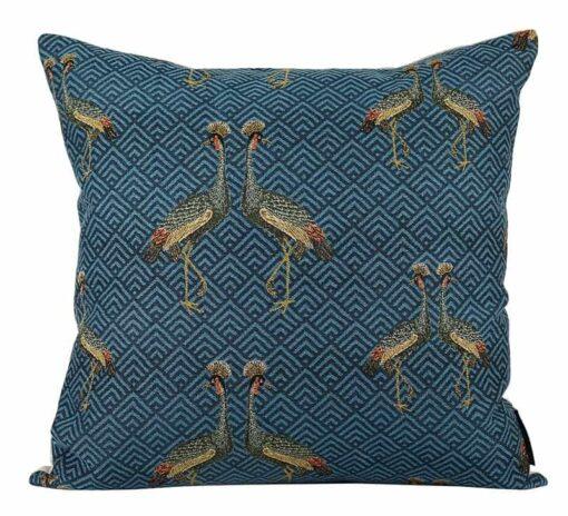 kussen donkerblauw kraanvogels