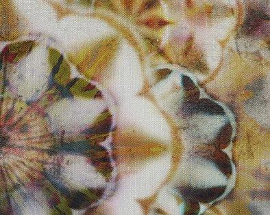 kussen okergeel kaleidoscope detail