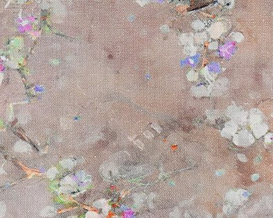 kussen oudroze bloesem detail