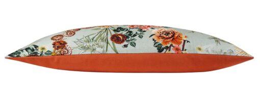 sierkussen mintgroen oranje bloemen