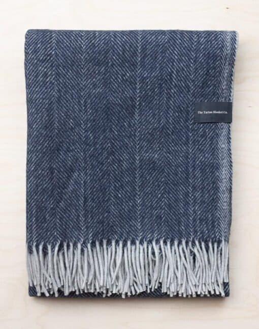 wollen deken blauw visgraat