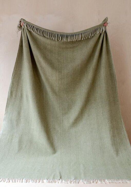 wollen deken olijfgroen visgraat wol