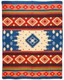 blauw sprei plaid alpacawol Quilotoa