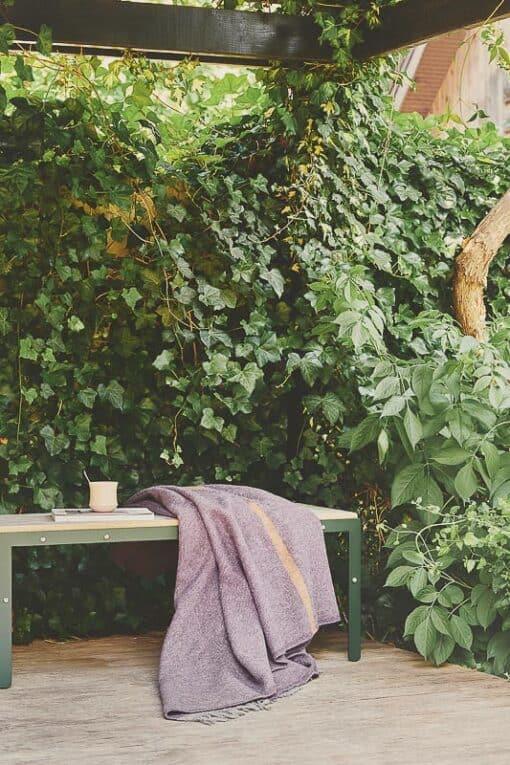 deken paars okergeel streep wol silkeborg
