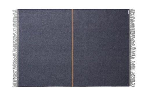 deken plaid donkerblauw okergeel wol silkeborg