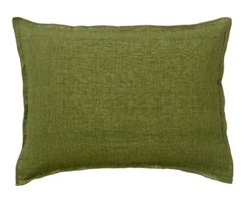 kussen groen linnen langwerpig