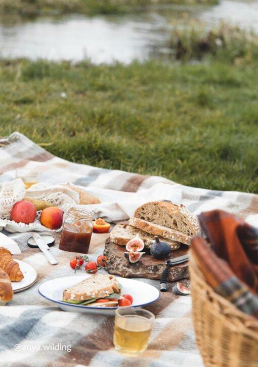picknickkleed beige ruiten bruin wol