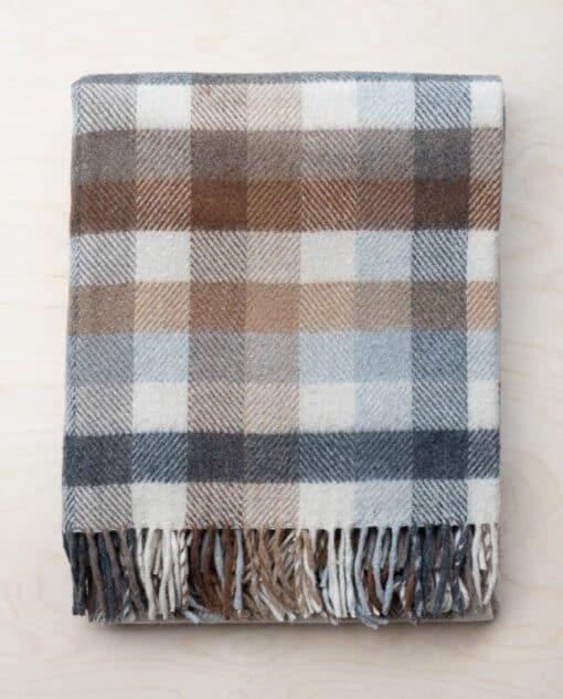 picknickkleed beige bruin ruiten wol