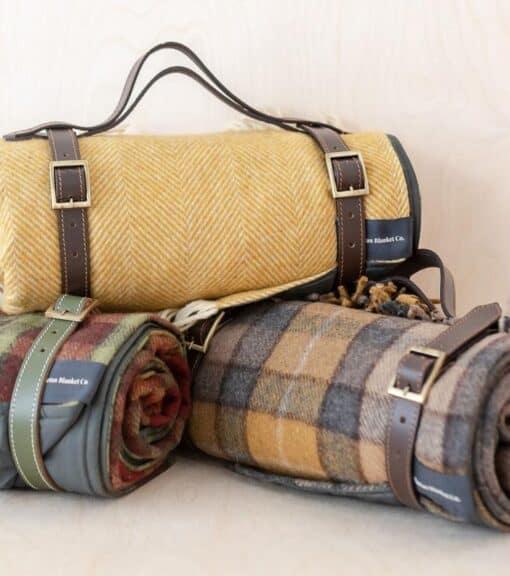 picknickkleed geel ruiten visgraat wol