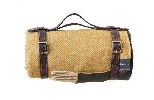 picknickkleed geel visgraat wol