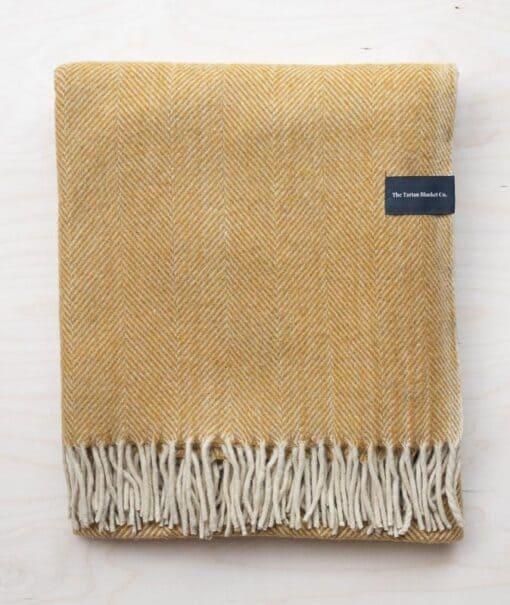 picknickkleed geel wol visgraat