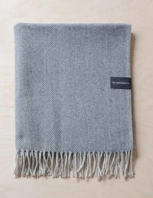 picknickkleed grijs wol visgraat detail