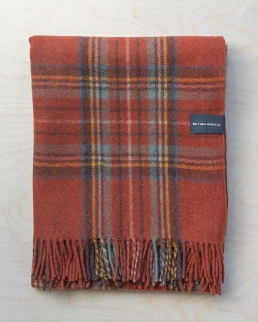 picknickkleed oranje ruiten wol