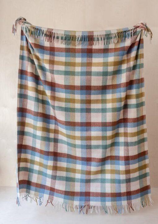 picknickkleed regenboog ruiten wol tartan