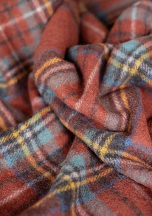 picknickkleed steenoranje ruiten wol detail