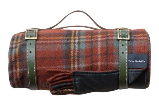 picknickkleed steenoranje ruiten wol rust