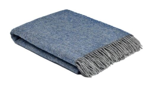 plaid blauw grijs wol cosy periwinkle