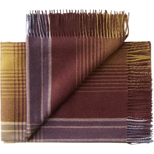 plaid bordeaux paars okergeel ruiten alpacawol silkeborg bogota