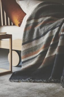 plaid deken blauw grijs strepen wol